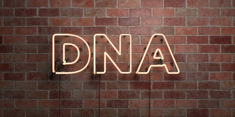 DNA - fluorescent Neon tube Sign on brickwork - Front view - 3D rendered royalty free stock picture. Can be used for online banner ads and direct mailers..