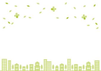 街並と葉 背景イラスト