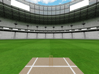 3D render of a round cricket stadium with white seats and VIP boxes
