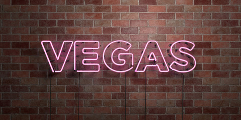 VEGAS - fluorescent Neon tube Sign on brickwork - Front view - 3D rendered royalty free stock picture. Can be used for online banner ads and direct mailers..