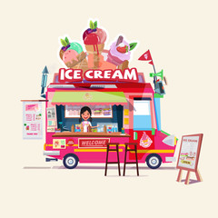ice cream truck with cute seller. food truck concept - vector