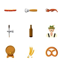 Holiday of beer icons set, cartoon style