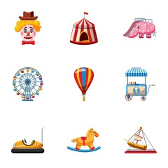 Rides icons set, cartoon style