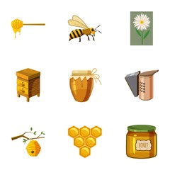Beekeeping farm icons set, cartoon style