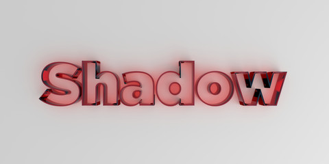 Shadow - Red glass text on white background - 3D rendered royalty free stock image.