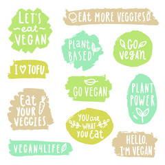 Grunge vegan labels. Vector hand drawn illustration