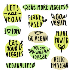 Set of vegan lettering. Vector hand drawn illustration