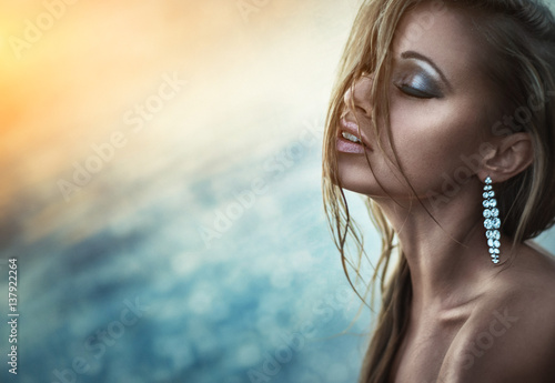 Sexy And Sensual Woman With Jewelry Near The Sea Outdoor Glamour Photography Makeup