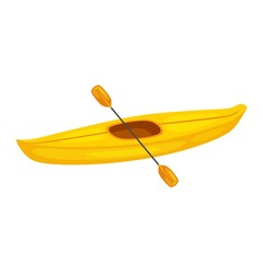 Vector illustration of yellow kayak boat, and plastic, rowing oar. Kayak isolated, sea kayak. Extreme sport