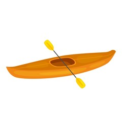 Vector illustration of yellow kayak boat, and plastic, rowing oar. Kayak isolated, sea kayak. Extreme sport