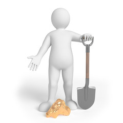 Miner on the white background with spade and a gold nugget. 3d render