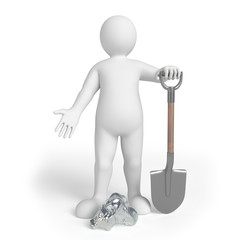Miner on the white background with spade and a silver nugget. 3d render
