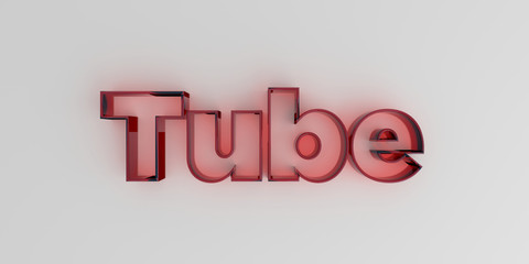 Tube - Red glass text on white background - 3D rendered royalty free stock image.
