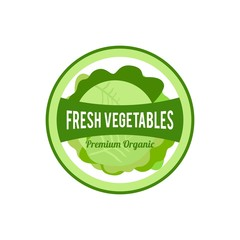 Vegetables fresh stamp and logo design