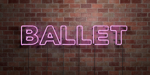 BALLET - fluorescent Neon tube Sign on brickwork - Front view - 3D rendered royalty free stock picture. Can be used for online banner ads and direct mailers..