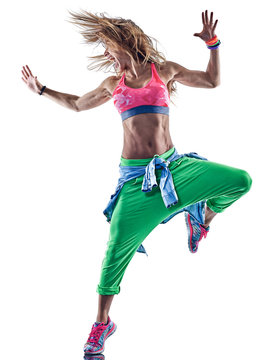 one caucasian woman exercising zumba fitness excercises dancer dancing in studio isolated on white background