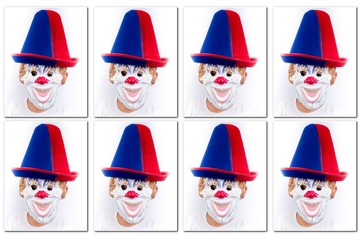 Identity photos of a clown a symbol to be anonymous