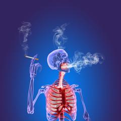 3D illustration of a cigarette smoking human skeleton