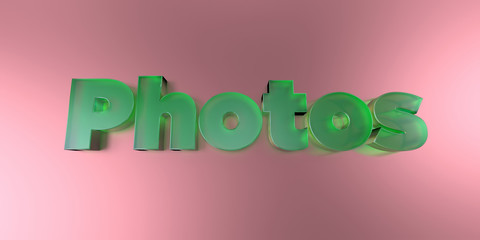 Photos - colorful glass text on vibrant background - 3D rendered royalty free stock image.