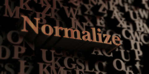 Normalize - Wooden 3D rendered letters/message.  Can be used for an online banner ad or a print postcard.