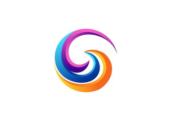 sphere circle elements modern logo sign, abstract swirl global twist symbol icon, spiral round letter G shape vector design template
