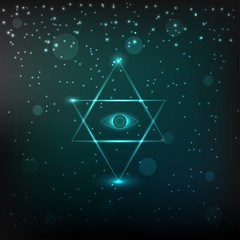 Neon mystical astrological sign with star of David