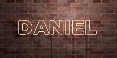 DANIEL - fluorescent Neon tube Sign on brickwork - Front view - 3D rendered royalty free stock picture. Can be used for online banner ads and direct mailers.. Wall mural