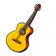 Funny classical guitar in cartoon style - vector.