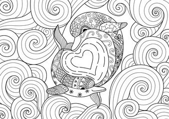 Two dolphins swimming make hearted shape wave under water world for coloring page and design element