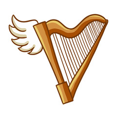 Funny brown wooden harp with vintage design - vector.