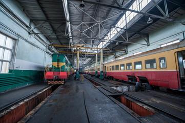 train at a railway depot