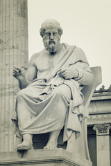 Statue of ancient Greek philosopher Plato at Academy Of Athens, Greece