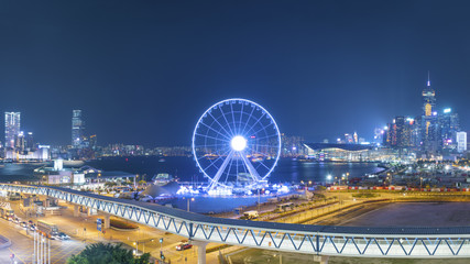 Ferris Wheel in Hong Kong City at night