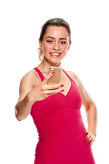 young fitness Woman taking selfie