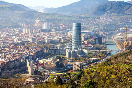 View of the Bilbao city taken from the top of the hill