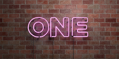 ONE - fluorescent Neon tube Sign on brickwork - Front view - 3D rendered royalty free stock picture. Can be used for online banner ads and direct mailers.. Wall mural