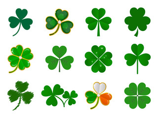 vector shamrock collection on white background
