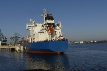 Tanker ship in operations at the Oil Terminal