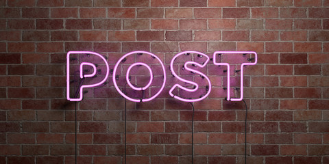 POST - fluorescent Neon tube Sign on brickwork - Front view - 3D rendered royalty free stock picture. Can be used for online banner ads and direct mailers..