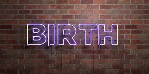BIRTH - fluorescent Neon tube Sign on brickwork - Front view - 3D rendered royalty free stock picture. Can be used for online banner ads and direct mailers..