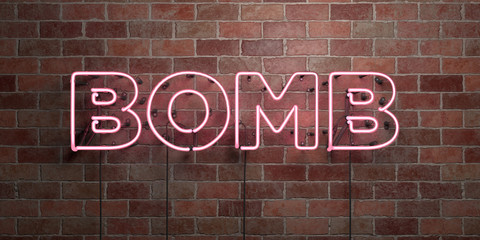 BOMB - fluorescent Neon tube Sign on brickwork - Front view - 3D rendered royalty free stock picture. Can be used for online banner ads and direct mailers..