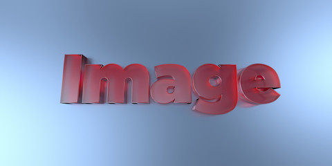 Image - colorful glass text on vibrant background - 3D rendered royalty free stock image.