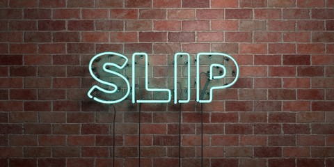 SLIP - fluorescent Neon tube Sign on brickwork - Front view - 3D rendered royalty free stock picture. Can be used for online banner ads and direct mailers..