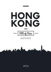 Poster city skyline Hong Kong, Flat style vector illustration
