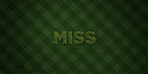 MISS - fresh Grass letters with flowers and dandelions - 3D rendered royalty free stock image. Can be used for online banner ads and direct mailers..