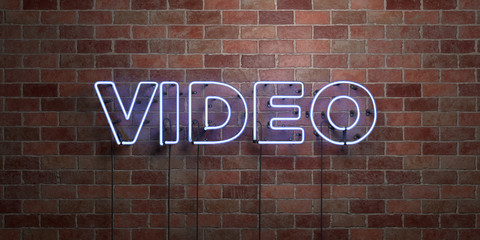 VIDEO - fluorescent Neon tube Sign on brickwork - Front view - 3D rendered royalty free stock picture. Can be used for online banner ads and direct mailers..