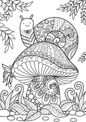 Snail sitting on beautiful mushroom for coloring book page and design element. Stock Vector