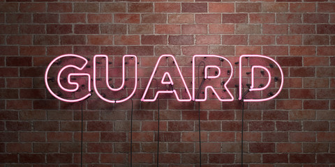 GUARD - fluorescent Neon tube Sign on brickwork - Front view - 3D rendered royalty free stock picture. Can be used for online banner ads and direct mailers..