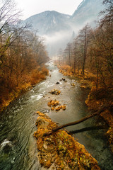 beautiful landscape with fog on the river Cerna