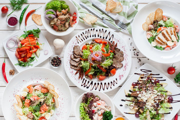 Salad Meat Warm Buffet Restaurant Menu Banquet Party Celebration Concept